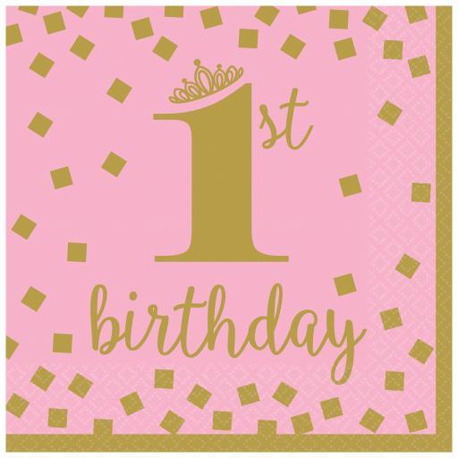 1st Birthday Girl Gold Luncheon Napkins 33cm - 16