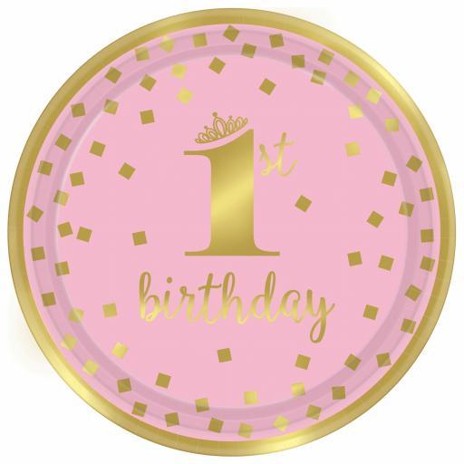1st Birthday Girl Pink & Gold Metallic Paper Plates 23cm - 8