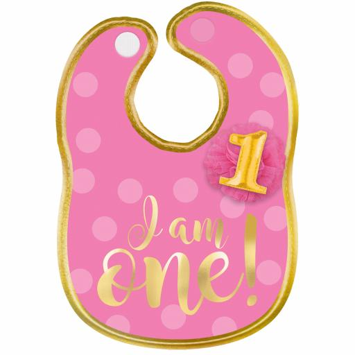"""1st Birthday Girl """"I Am One"""" Polyester Bib with Gold Hot Stamped Lettering"""