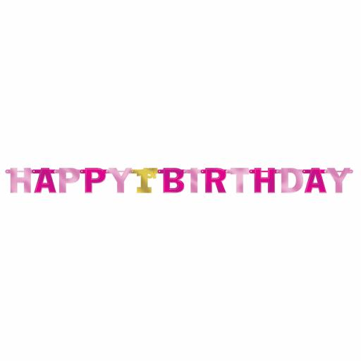 1st Birthday Girl Large Pink Foil Letter Banners 2.13m