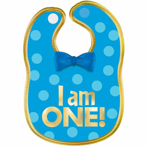 """1st Birthday Boy """"I Am One"""" Polyester Bib with Gold Hot Stamped Lettering"""