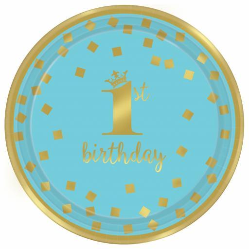 1st Birthday Boy Blue & Gold Metallic Paper Plates 18cm