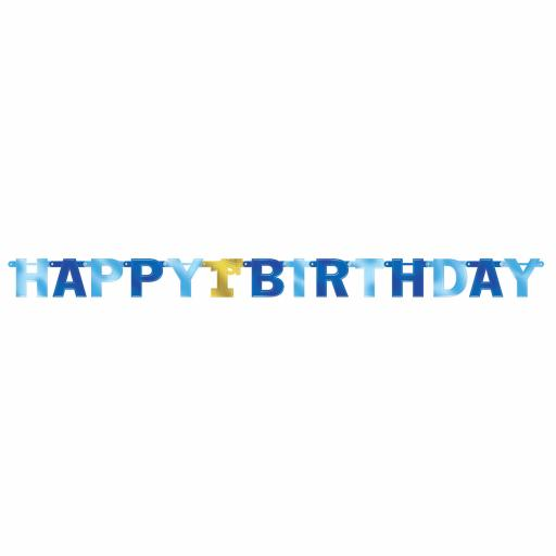 1st Birthday Boy Large Blue Foil Letter Banners 2.13m