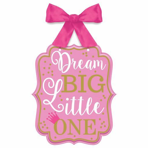 """1st Birthday Girl """"Dream Big Little One"""" MDF Signs 27cm x 23cm"""