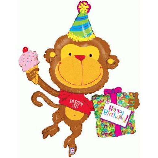 49inch Birthday Monkey Foil Balloon