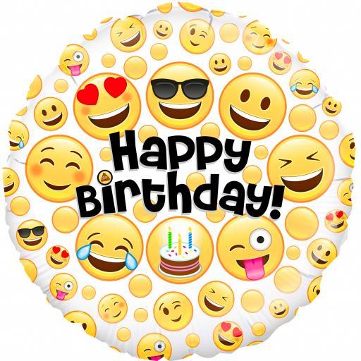 """18"""" Emoji Birthday Foil Balloon"""