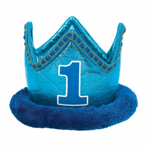 1st Birthday Blue Fabric Crown