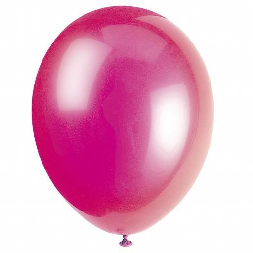 50 Shiny Fuchsia Latex Balloons