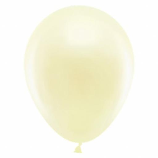 50 Metallic Ivory Latex Balloons
