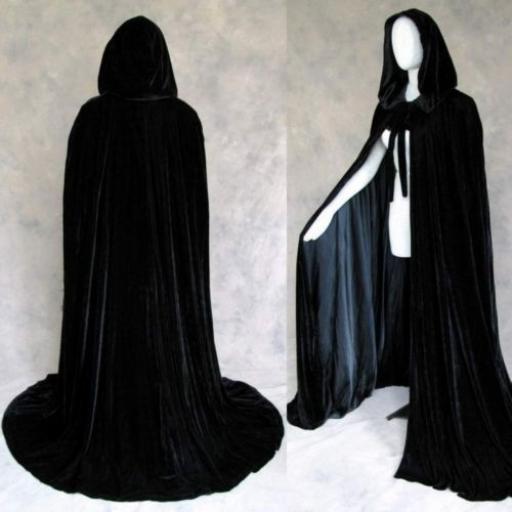 Black Hooded Velvet Cape Adults Costume
