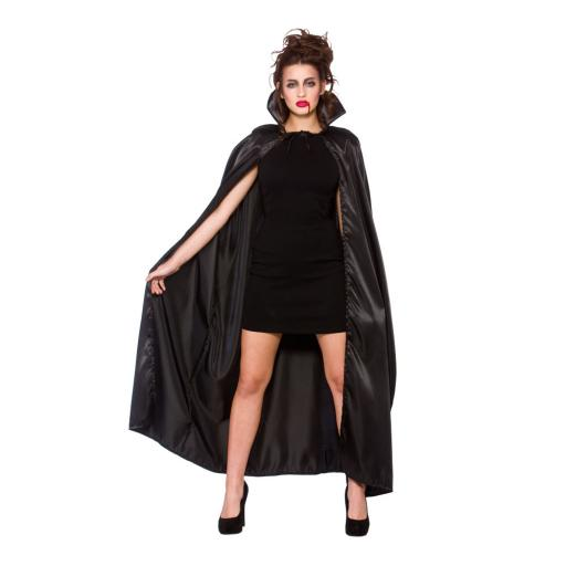 Adult Deluxe Black Satin Cape with Collar