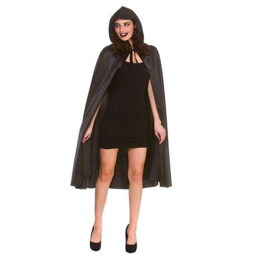 Deluxe Satin Hooded Cape (110cm) Black