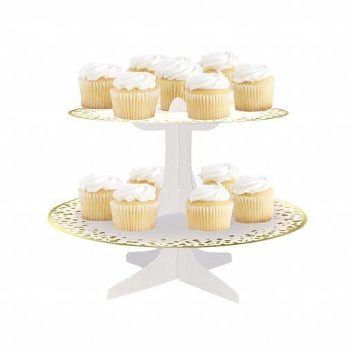 Round Cupcake Stand 1Pc White & Gold