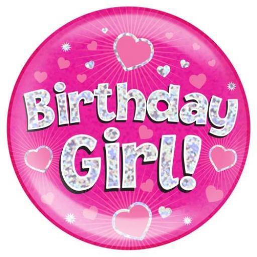 Jumbo Badge Birthday Girl Pink Colour