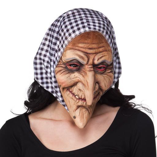 Latex face mask Witch Pc. Latex face mask Witch with hood black/white
